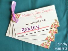 Make a gift from the heart with this Mother's Day Printable Coupon Book. Great template to make your own, and even add your own coupons for mom this year! Mothers Day May, Mothers Day Crafts For Kids, Gifts For Kids, Homemade Gift Bags, Homemade Gifts For Friends, Mother's Day Coupons, Mother's Day Printables, Grandpa Birthday Gifts, Just Because Gifts