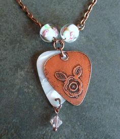 Metal Etched Copper Rose Double Guitar Pick by FHGoldDesigns Metal Jewelry Making, Copper Jewelry, Unique Jewelry, Guitar Pick Necklace, Gold View, Rings N Things, Copper Rose, Jewelry Necklaces, Pendant Necklace