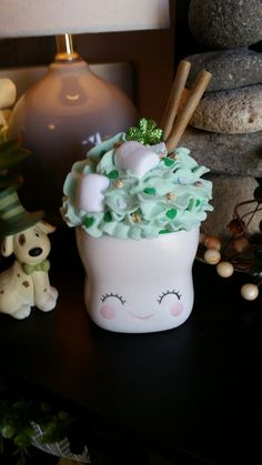 Faux Whipped Cream Mug Topper for 180 De on Mercari St Patrick's Day Crafts, Holiday Crafts, Diy And Crafts, Diy Whipped Cream, Whipped Topping, Gift Box Cakes, Gift Cake, Christmas Mugs, Perfect Christmas Gifts