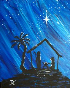 christmas paintings on canvas Easy Canvas Painting, Winter Painting, Canvas Art, Acrylic Paintings, Nativity Painting, Nativity Star, Wine And Canvas, Christmas Paintings On Canvas, Native Art