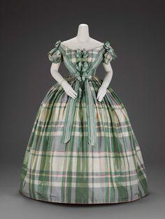 Plaid silk evening dress, 1850-60. | In the Swan's Shadow