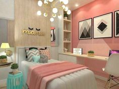 teen girl bedroom decor, gray white and pink bedroom decor, tween girl room design, girl room ideas desk area in kid room Teen Bedroom Colors, Small Room Bedroom, Bedroom Themes, Trendy Bedroom, Dream Bedroom, Diy Bedroom, Warm Bedroom, Room Color Ideas Bedroom, Decor Room