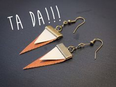 Revamping old jewelry with etching Leather Earrings, Bead Earrings, Leather Jewelry, Leather Craft, Triangle Earrings, Old Jewelry, Jewelry Crafts, Handmade Jewelry, Jewelry Making