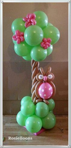 Resultado de imagen para arco de globos baby shower niña de buhos