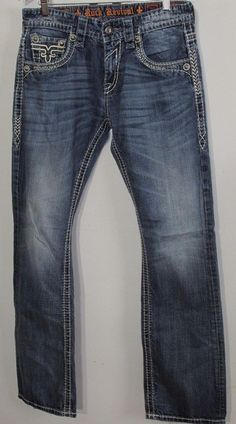 b7e6ca6859c354 Rock Revival Fabio Boot Jeans Men s Jeans 30 Measured 30x32 Inv F3228   RockRevival