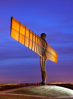 """Gateshead, Tyne and Wear. """"Angel of the North"""" by Anthony Gormley, lit at twilight. England Top, North East England, Coventry Cathedral, Sutton Hoo, Tens Place, History Of England, Angel Of The North, Antony Gormley, Heritage Site"""