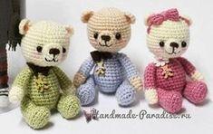 Плюшевый мишка крючком. Описание вязания крючком доброй игрушки для малыша - маленького вязаного медвежонка, вязание в технике амигуруми.