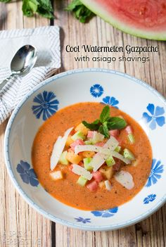 Cool Watermelon Gazpacho with asiago shavings