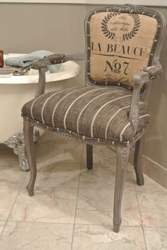 French grain sack chair by Chair Whimsy