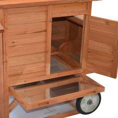 Pawhut Wheeled Tractor Hen House Chicken Coop with Chicken Run