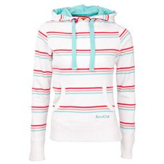 Soul Cal Striped Skater Hoody (20 BRL) ❤ liked on Polyvore featuring tops, hoodies, sweatshirts, jackets, shirts, womens sweats, white stripes shirt, white top, white sweatshirt and white hoodie