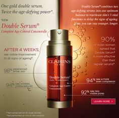 Clarins doble serum, less wrinkles, less visible pores, even skin tone, more firm skin, that's the reason why 90% of woman's prefer this doble serum. Macys Trumbull ct 06611, and the counter manager is adorable!!!