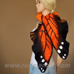Halloween 20% discount Felted scarf Wrap Shawl Wool Monarch butterfly organic natural eco materials Black Gray Orange. $129.00, via Etsy.
