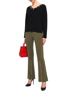 71359d8797a Lyst - Boutique Moschino Woman Zip-detailed Crepe Flared Pants Army Green  in Green
