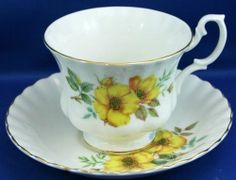 Royal Albert Tea Cup Saucer Wild Yellow Rose