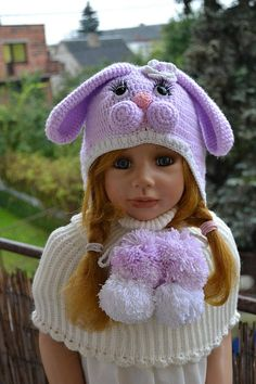 Knit Bunny cap warm spring hat Christmas gifts crochet Hat