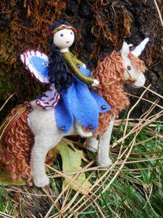 Miniature Flower Fairy Bendy Doll and Unique Felt Unicorn Set by WildflowerInnocence on etsy