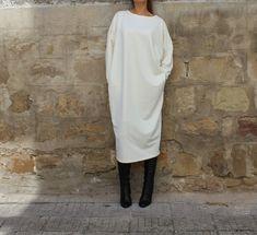 Creamy Maxi Dress, Caftan, Plus size dress, Midi dress, Fall Winter dress, Long sleeves dress, Dress with pockets, Party dress