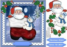 A lovely card to make and give with a little Snowman hitching a ride on Santa's Boot a lovely card has