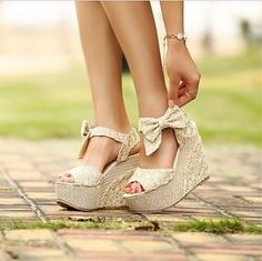 Hansenne lovely lace bowknot wedge heel high-heeled shoes sandal