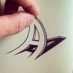 A - typographic illustration by Swiss artist Cyril Vouilloz (aka Rylsee)