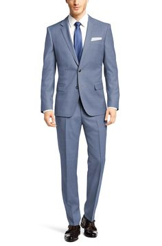 BOSS 'Hutson/Gander' | Slim Fit, Super 100 Italian Virgin Wool Suit Light Blue free shipping