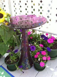 DIY Bird Bath from vase and bowl starrcreative.worpress.com