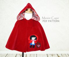 Cape pattern, Girls PDF sewing pattern, Instant Download, Costume, Jacket, Childrens sewing pattern, The Maisie Cape