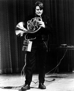 Gordon Mumma and cybersonic horn, from a live performance of hornpipe (1967)
