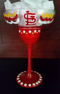 St Louis Cardinals hand painted 13 oz Super Margarita Glass