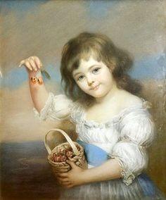 Child Holdig Cherriest by James Wells Champney (1843-1903)