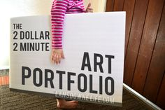 Quick and easy $2 DIY art portfolio. Great for storing kids artwork!
