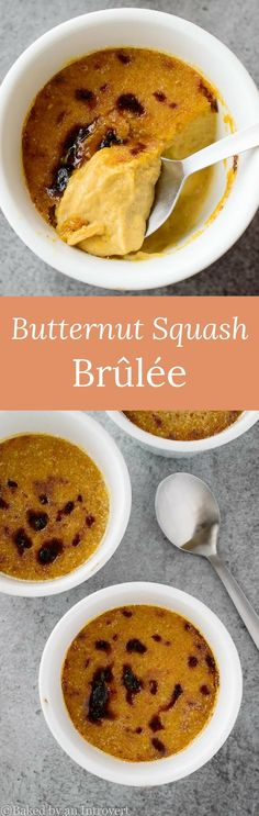 Butternut Squash Brulee is sweet, creamy butternut squash custard topped with crunchy caramelized sugar. So simple and super delicious! via @introvertbaker