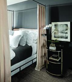 bedroom, black walls, canopy