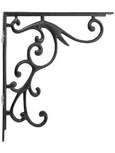 "Iron Shelf Brackets. Small Pennsylvania Dutch Design Iron Bracket - 5"" x 6 1/2"""