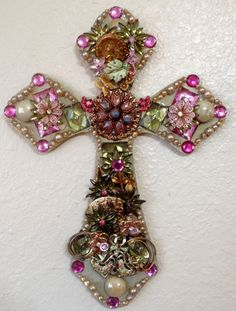 Pink and Green vintage jeweled cross by Idratherbeshelling on Etsy
