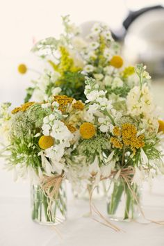 Wedding flower arrangements  #Yellow #country #wedding … Wedding #ideas for brides, grooms, parents & planners https://itunes.apple.com/us/app/the-gold-wedding-planner/id498112599?ls=1=8 … plus how to organise an entire wedding, within ANY budget ♥ The Gold Wedding Planner iPhone #App ♥ For more inspiration http://pinterest.com/groomsandbrides/boards/  #country #tablescape #rustic #lemon