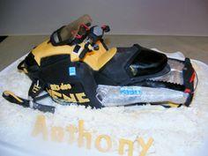 moto-neige, snowmobile, ski-doo cake by Ann kaïk