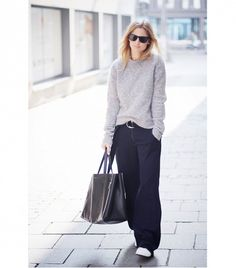 (love, love, love this outfit.  Comfy chic.) On Mija: Acne sweater; Zara pants; Celine bag; Adidas shoes.