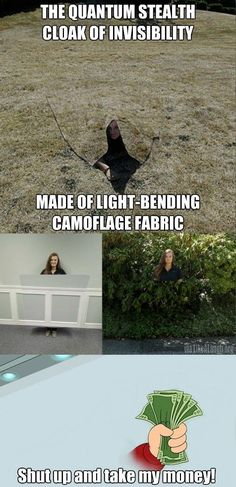 Seriously. It's a freaking invisibility cloak! http://ibeebz.com