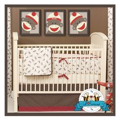 Retro Sock Monkey Baby Bedding - Playful sock monkeys dance across this vintage-inspired bedding set. Retro Sock Monkey Baby Bedding is a four-piece set that includes. Monkey Baby Rooms, Sock Monkey Nursery, Monkey Bedroom, Sock Monkey Baby, Baby Boy Rooms, Baby Boy Nurseries, Kids Rooms, Whale Nursery, Neutral Nurseries