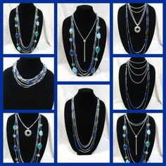 "Many ways to wear the ""True Blue"" necklace. It's a piece you can wear dressy or throw on with some jeans and look like you tried that day!"