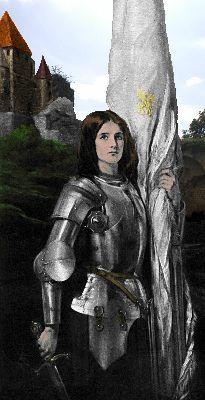 Juana de Arco, heoína francesa (1412-1431). Nacida en Domrémy, un pequeño poblado situado en el departamento de los Vosgos en la región de la Lorena, Francia, ya con 17 años encabezó el ejército real francés. Convenció al rey Carlos VII de que expulsara a los ingleses de Francia, y éste le dio autoridad sobre su ejército en el Sitio de Orleans, la batalla de Patay y otros enfrentamientos en 1429 y 1430.