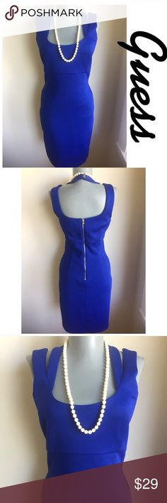 """Guess Royal Blue Dress.  Gorgeous. Guess Royal Blue Dress.  Gorgeous. Bust 34"""".  Waist 26"""".  Hips 35"""".  Shoulder to hem 35"""". Size label is missing but fits like S.  Please go by measurements when deciding if this dress will fit.  Machine wash.  Fully lined.  Fabric is 10% Spandex. Stretchy.  Very good condition.  Ultra Chic. Guess Dresses"""