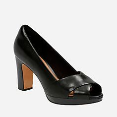 208805f88efa3 Jenness Cloud Black Leather Peep Toe Pumps, Women's Pumps, Women's Heels,  Comfortable Heels