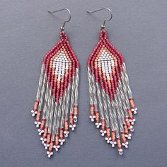 Long Seed Bead Earrings  beaded jewelry by Anabel27shop on Etsy,