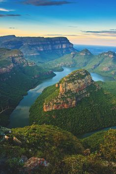 "Blyde River Canyon, Mpumalanga, South Africa - ""the green canyon"" A view from the three rondavels viewpoint at lower Blyde River Canyon around sunset by Leon Jacob, via Places To Travel, Places To See, Landscape Photography, Nature Photography, Belleza Natural, Africa Travel, Beautiful Landscapes, Land Scape, Kenya"