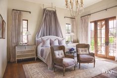 Canopy Bed and Wing Chairs Master Bedroom