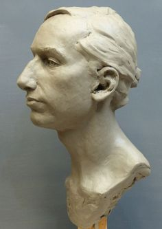 #Clay #sculpture by #sculptor Tristan MacDougall titled: 'Portrait of a Young Man (Commission Custom Bespoke Bust Head stature)'. #TristanMacDougall
