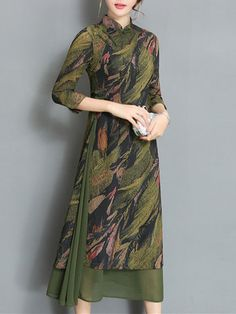 Vintage Women Printed 3/4 Sleeve Chinese Style Maxi Dresses